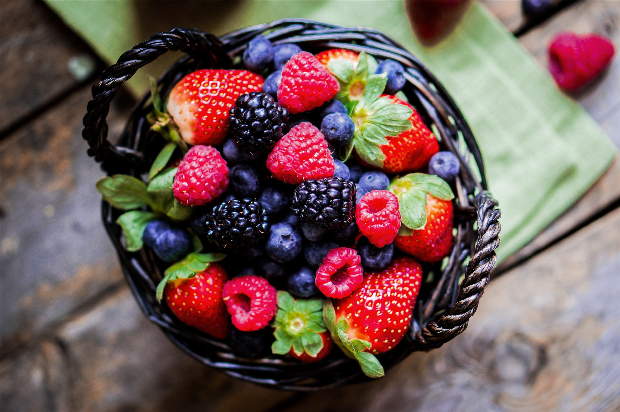 Rustic fruits, strawberries, blueberries