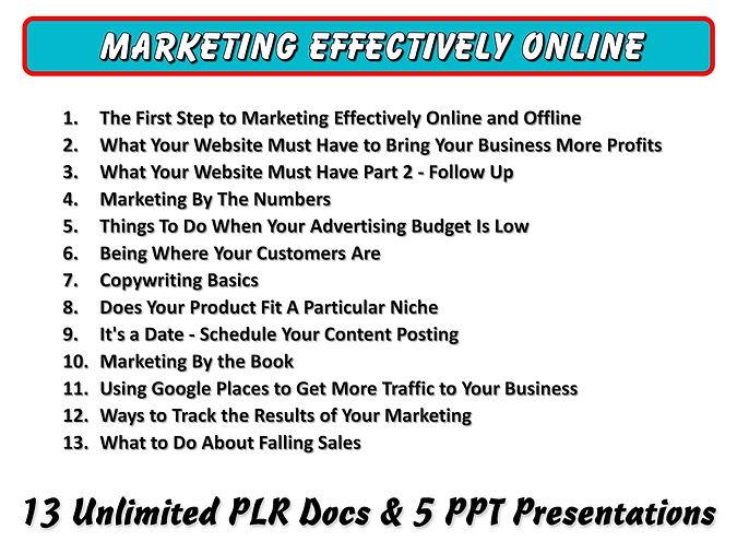 Marketing Effectively Online