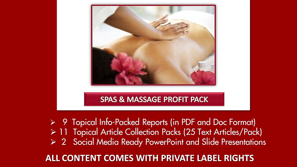 Spas and Massage Private Label Profit Pack