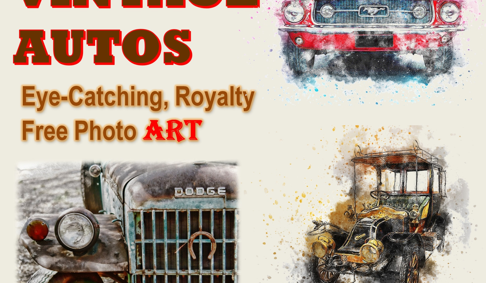 Vintage Autos Photo Art Collection