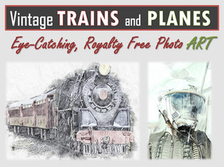Vintage PLANES AND TRAINS Photo Art Collection
