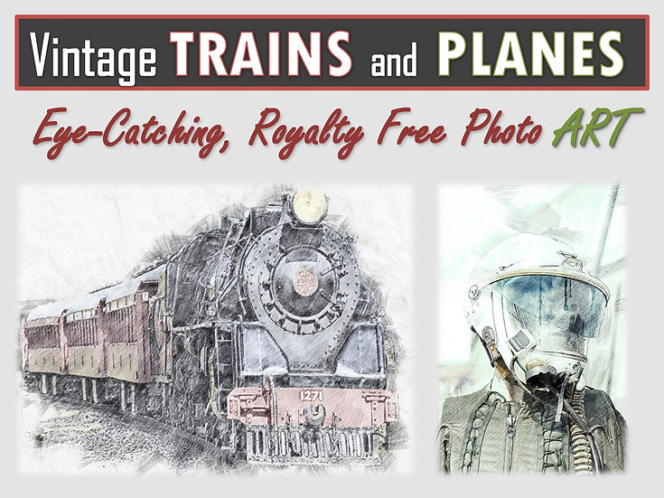 Vintage TRAINS and PLANES Photo Art Collection