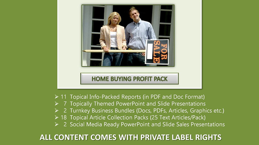 Home Buying Private Label Profit Pack
