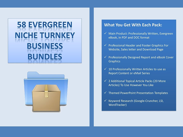58 Evergreen Niche Turnkey Business Bundles