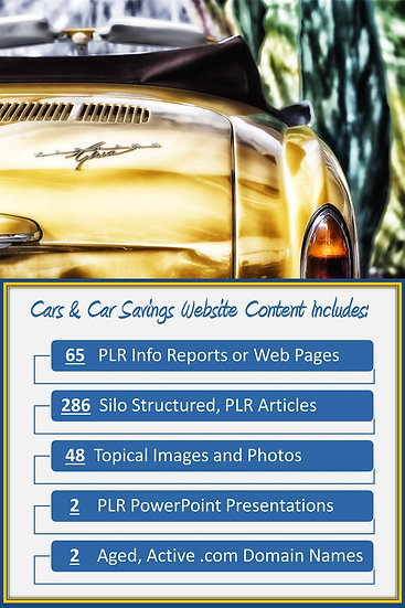 Cars and Car Savings Turnkey Content Sites
