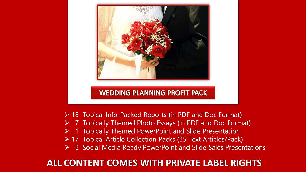 Wedding Planning Private Label Profit Pack