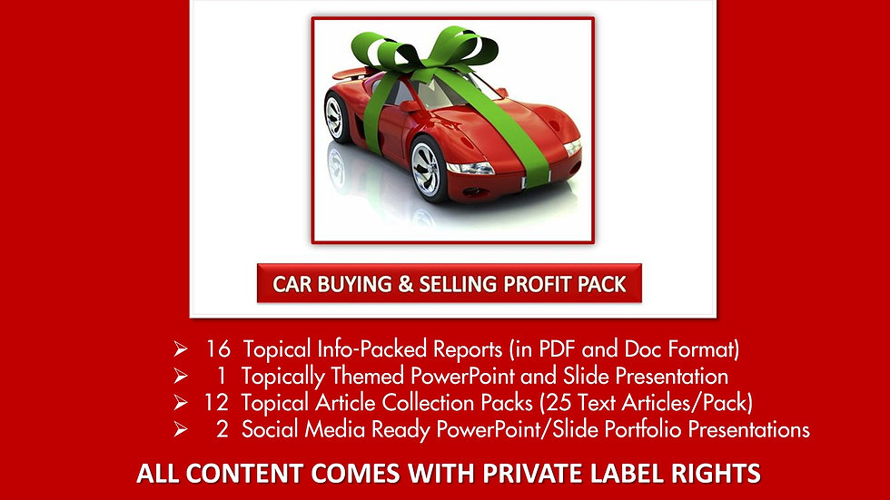 Car Buying and Selling Private Label Profit Pack