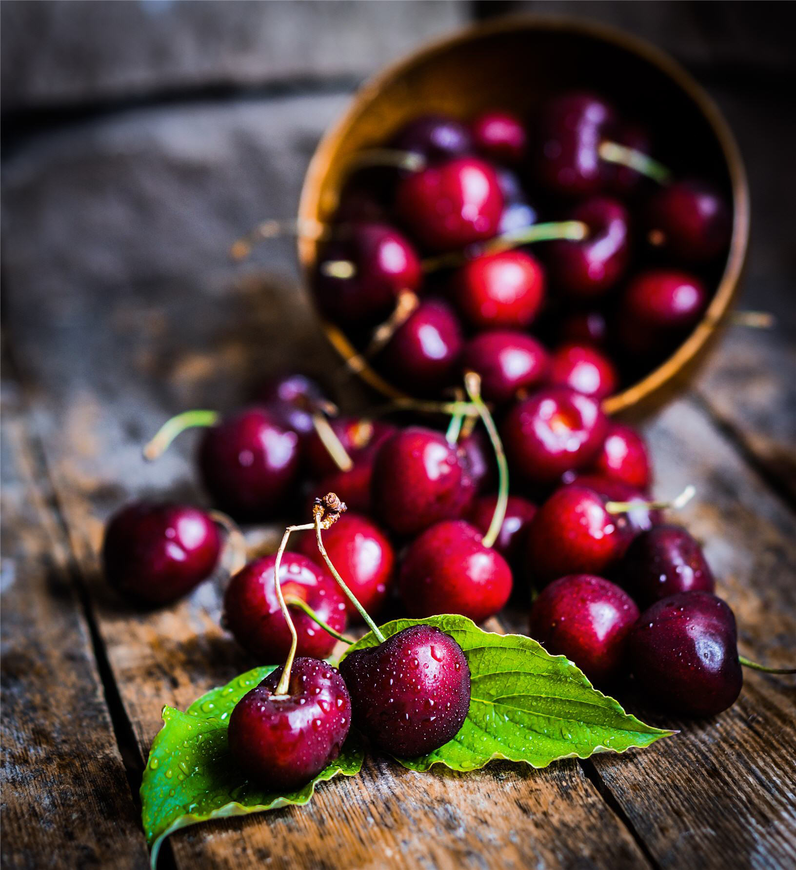 Rustic fruits, cherries