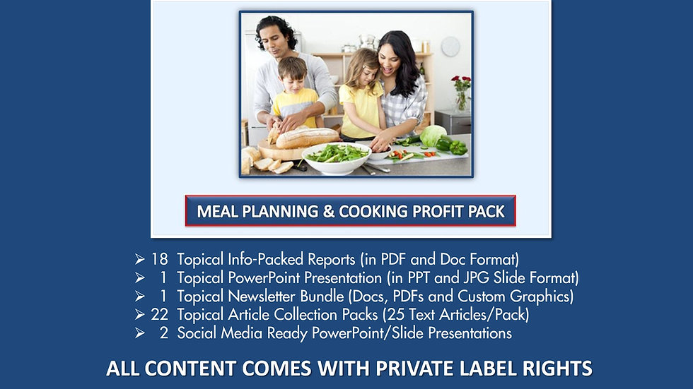 Meal Planning and Cooking Private Label Profit Pack