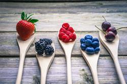 strawberries, blueberries