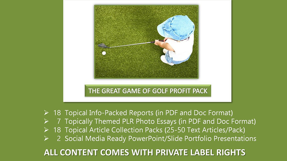 The Great Game of Golf Private Label Profit Pack