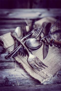 rustic cutlery, silverware