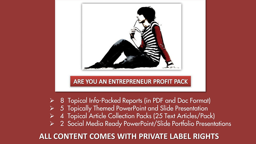 Are You An Entrepreneur Private Label Profit Pack