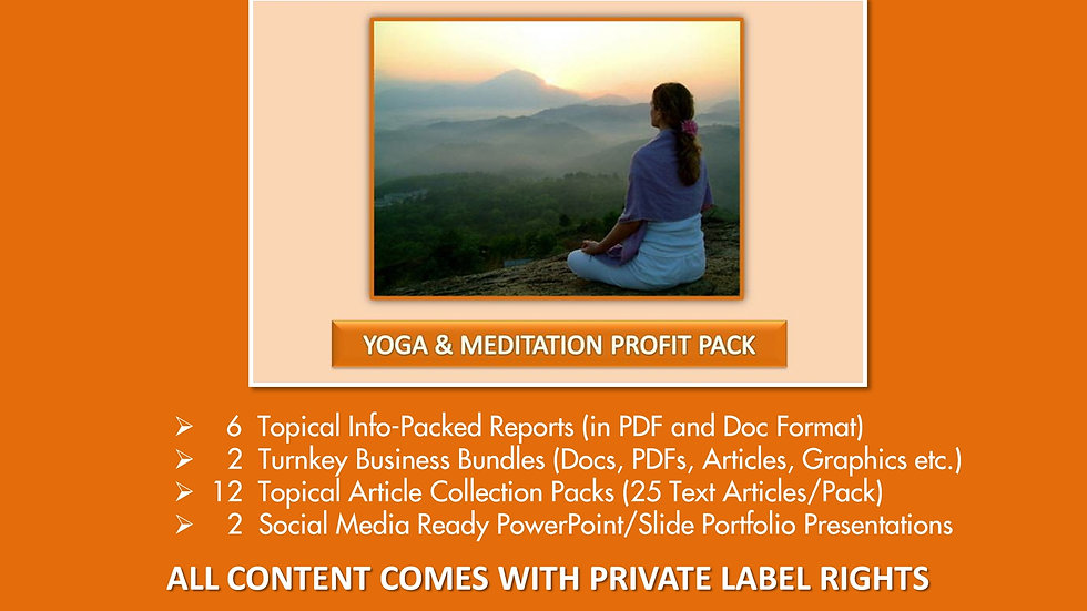 Yoga and Meditation Private Label Profit Pack