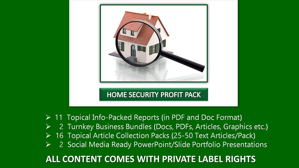 Home Security Private Label Profit Pack