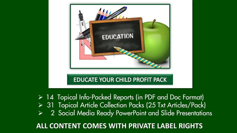 Educate Your Child Private Label Profit Pack