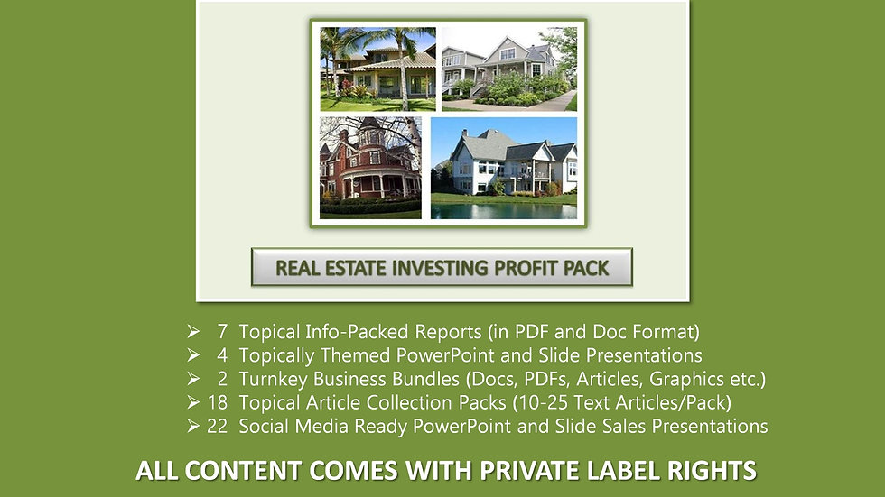 Real Estate Investing Private Label Profit Pack