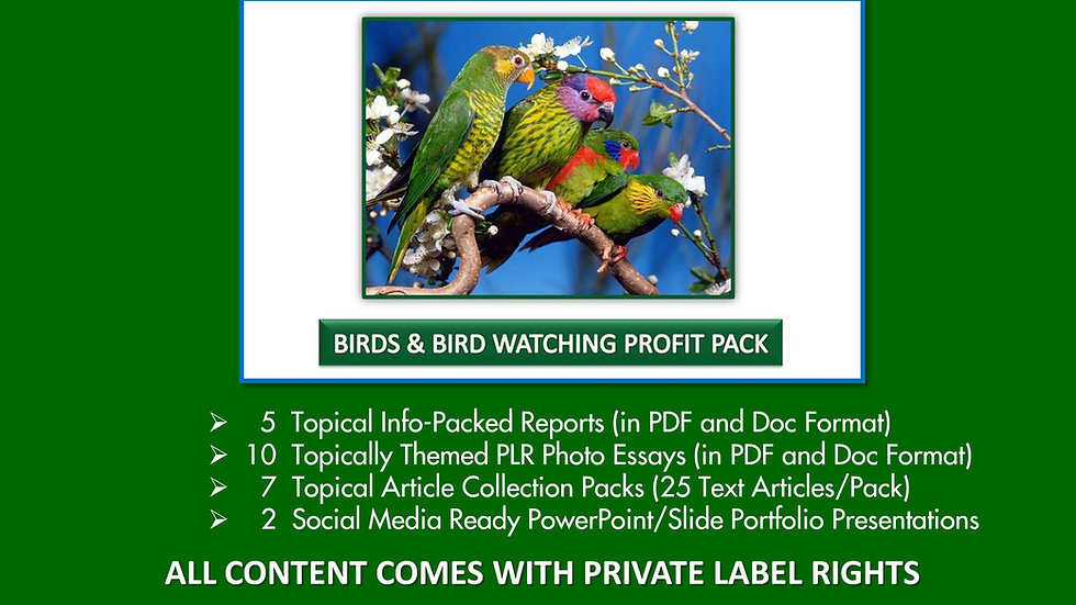 Birds and Bird Watching Private Label Profit Pack