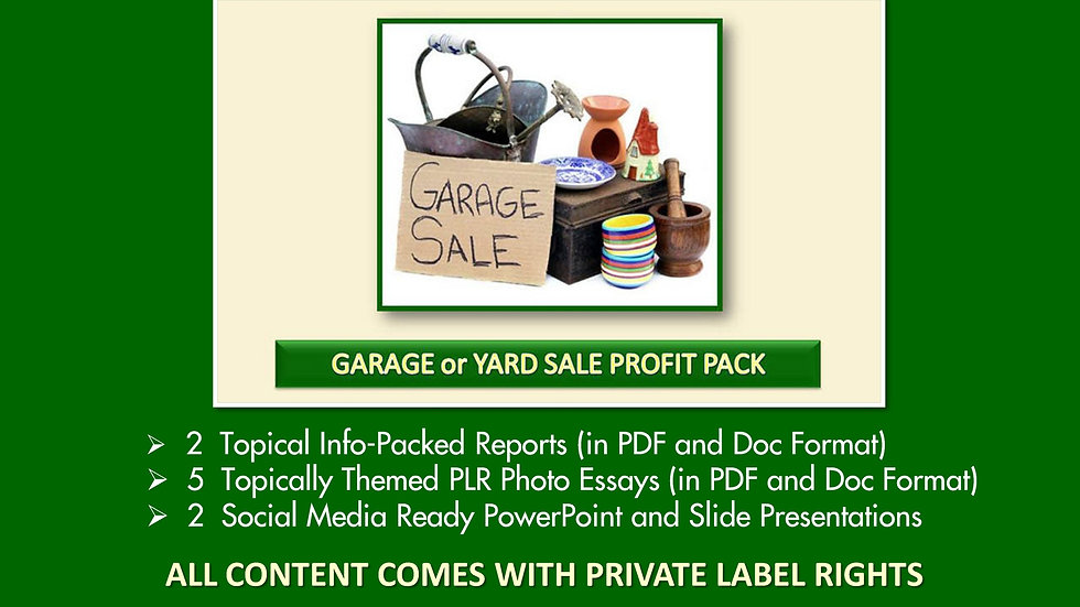 Garage and Yard Sale Private Label Profit Pack