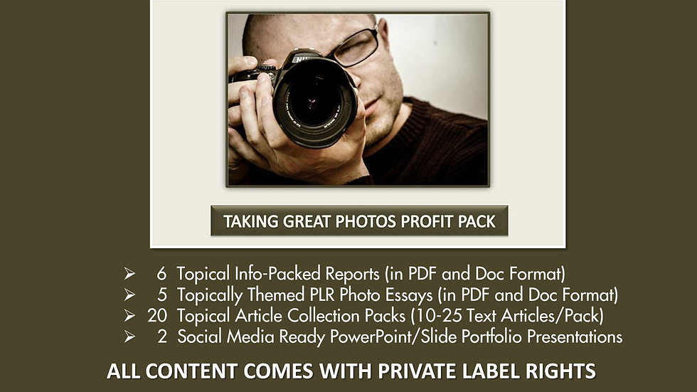 Taking Great Photos Private Label Profit Pack