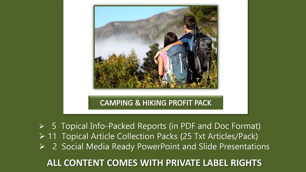 Camping and Hiking Private Label Profit Pack