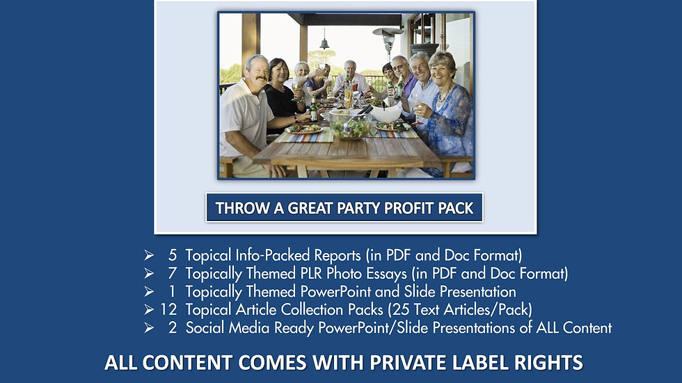 Throw A Great Party Private Label Profit Pack