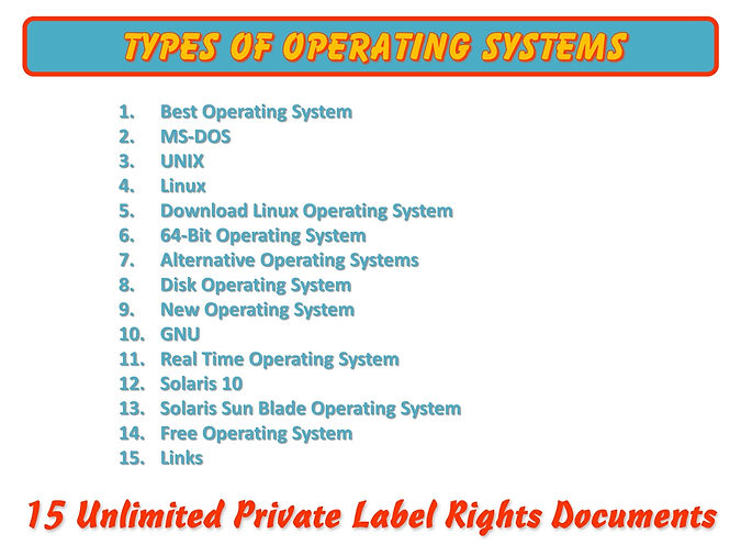Types of Operating Systems PLR Content