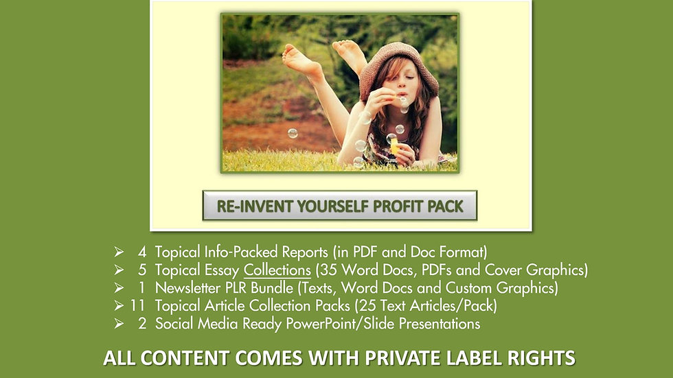 Re-Invent Yourself Private Label Profit Pack
