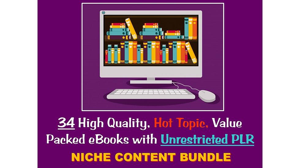 34 Niche eBook Bundle with UNRESTRICTED PLR