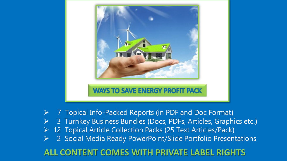 Ways To Save Energy Private Label Profit Pack