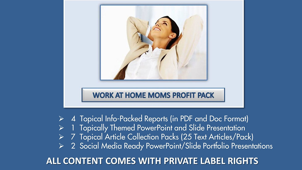 Work At Home Moms Private Label Profit Pack
