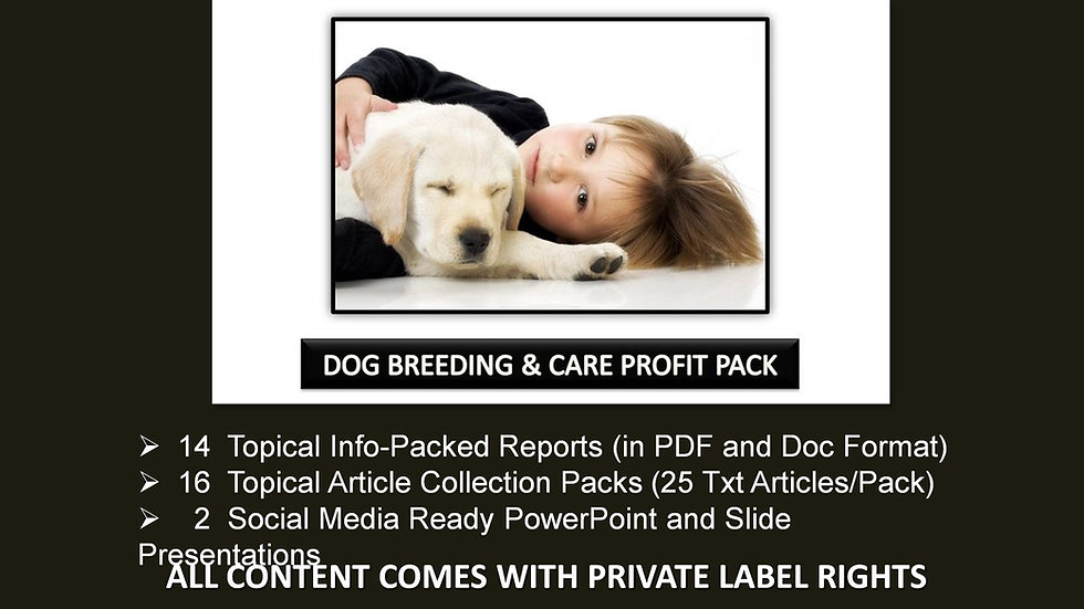 Dog Breeding and Care Private Label Profit Pack