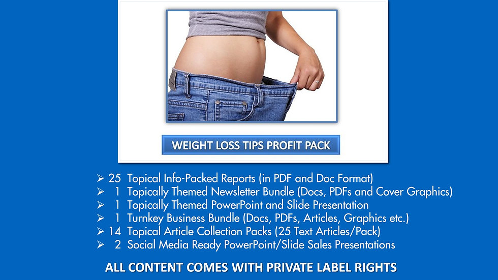 Weight Loss Tips Private Label Profit Pack