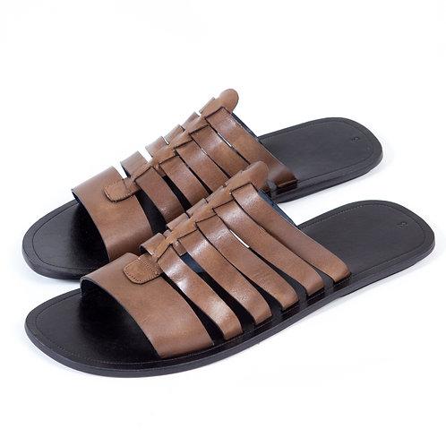 Sandale cuir marron