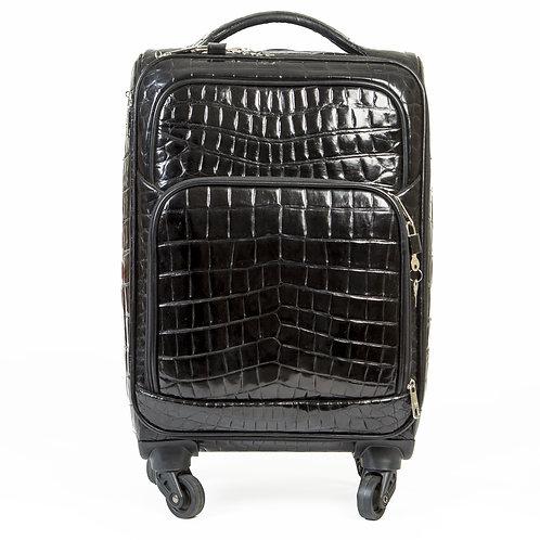 Valise en croco noir face