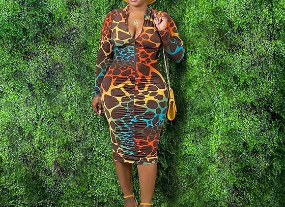 CM.YAYA Women Leopard Print Zipper Up Turn-Down Neck Long Sleeve Stacked Bodycon