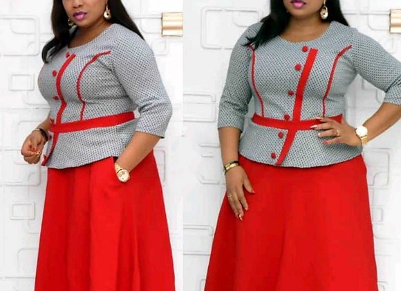 6XL Plus Size Colors Patchwork Elegant Office Lady Dress for African Women ONeck