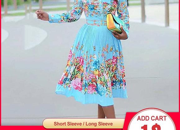 Fall Long Sleeve Women Pleated Floral Print Dress
