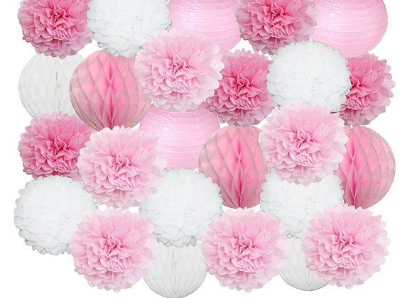 25pcs/Set Pink White Round Paper Lantern Set for Kids Baby Shower Decoration Bap