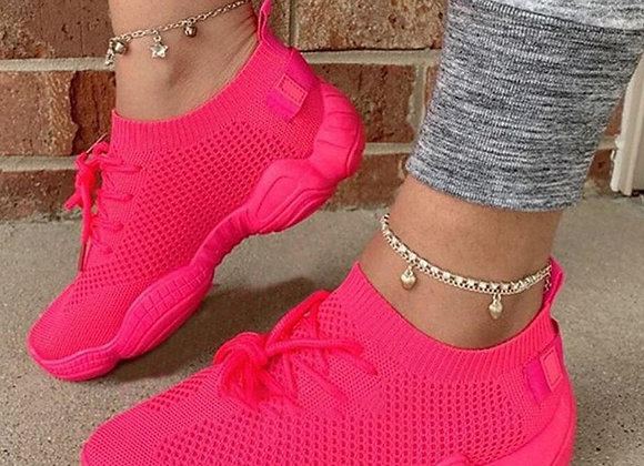 Air Mesh Women Sneaker Sock Shoes Summer Breathable Cross Tie Platform Round
