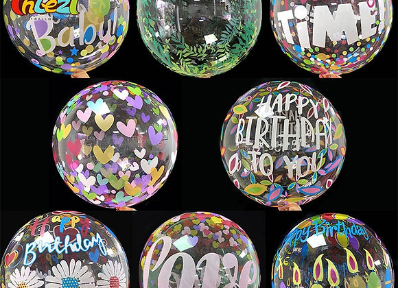 2pcs 20inch Transparent Bobo Clear Balloon Palm Leaf Love Printing Helium Balloo