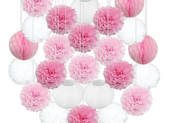 24pcs/Set Pink Blue Purple Paper Lantern Tissue Pompoms Flower Honeycomb Ball Ba