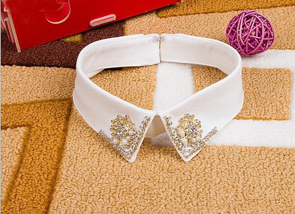 Fashion Flower Diamond Collar Artificial Bead Shirt Fake Collar Lace Wide Shirt