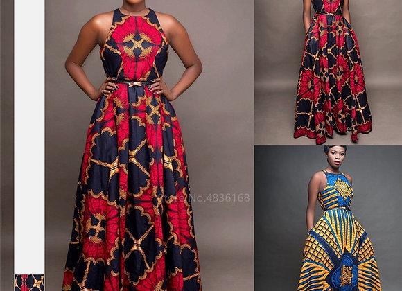 Fashion Ladies African Clothes Round Neck Dashiki Maxi Dress Sleeveless Plus Siz
