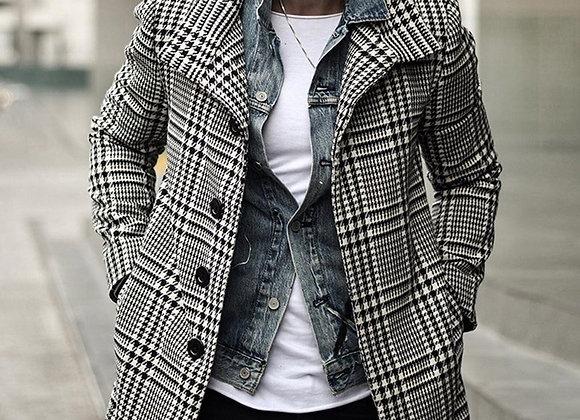 2020 Men Trench Coat Men's Plaid Coat Long-Length Coat Lapel Collar Long Sleeve