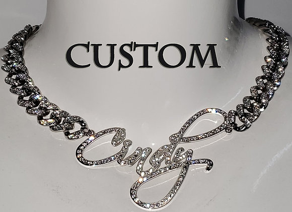 Customized Stainless Steel  Words Name Necklace 1.2cm Rhinestone Cuban Chain Mia
