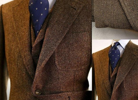 Brown Wool Blend Herringbone Men Suits for Wedding Blazers Business Groom Tuxe