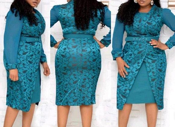 2020 Autumn New 2 Piece Set Women Dress Knee Length Dess Fashion Floral Print