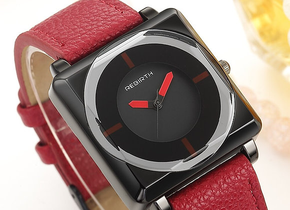 Brand REBIRTH Women's Watch Square Women Watches Leather Crystal