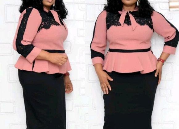 5XL 6XL Plus Size Autumn Business Dresses Women 3/4 Sleeve Lace Up Bow Dress